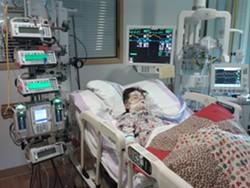 Pallas during a 2012 stay in an Intensive Care Unit - COURTESY OF HEATHER SHUKER
