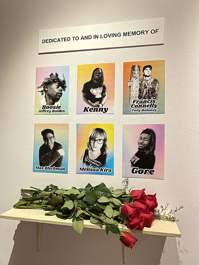 Shrines memorial to six friends at the Irma Freeman Center - PHOTO: ERYN OBERST