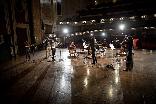 An ensemble of the Pittsburgh Symphony Orchestra in a mid-October socially distanced rehearsal for the 125th anniversary. - PHOTO: PITTSBURGH SYMPHONY ORCHESTRA