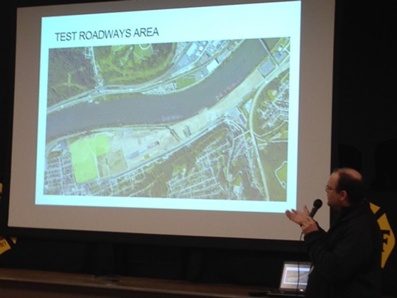 Dan Beaven of Uber presented the company's plans to develop a section of the Almono site in Hazelwood. - PHOTO BY RYAN DETO