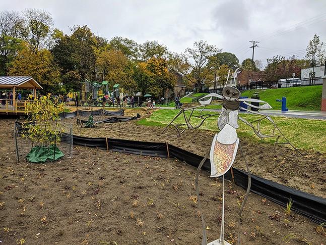 Public art bug sculpture in Wightman Park, Squirrel Hill - CP PHOTO: AMANDA WALTZ