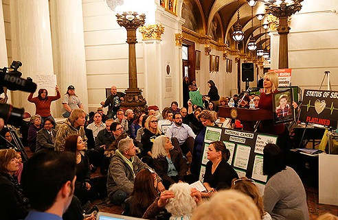Medical-cannabis proponents staged a sit-in Feb. 8 at the state capitol to protest the stalled legislation. - PHOTO BY JOHN HARVEY
