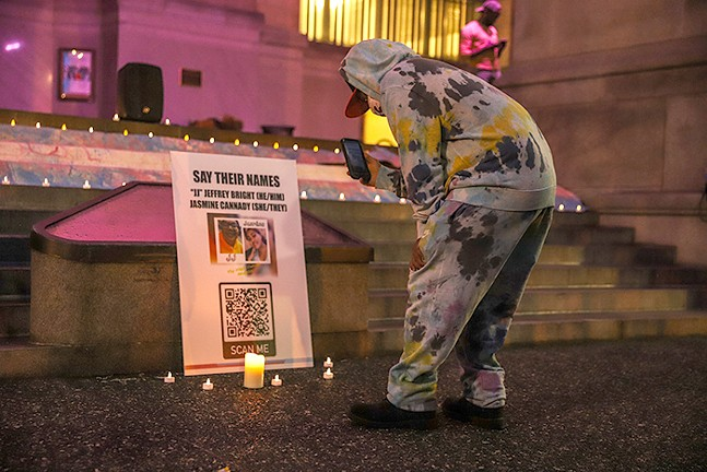 Trans YOUniting held a candlelight vigil on Sun., Feb. 28 outside the City County Building to honor four lives that were lost in the past two weeks. - CP PHOTO: KAYCEE ORWIG