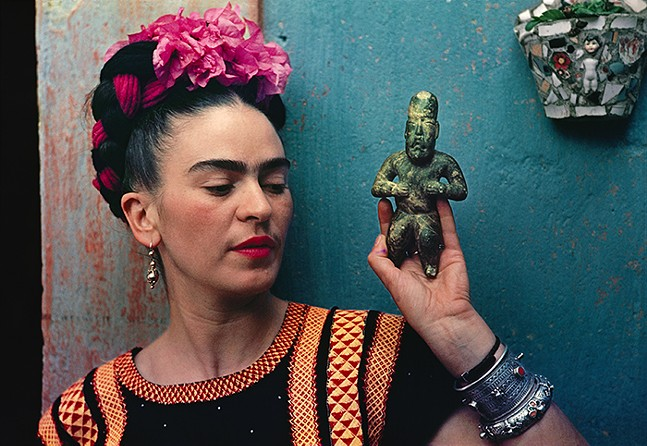 """""""Frida with Olmeca Figurine,"""" part of The Frick Pittsburgh's new photography exhibit on Frida Kahlo's life. See Sun., March 7 for more details. - PHOTO: NICKOLAS MURRAY/THE FRICK PITTSBURGH"""