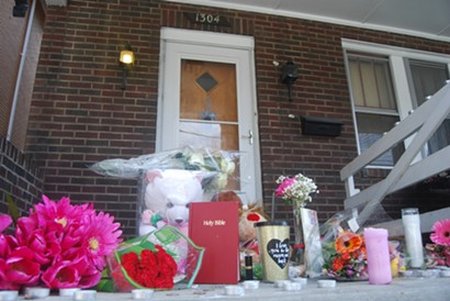 A memorial at the scene of the March 9 mass shooting in Wilkinsburg - PHOTO BY RYAN DETO