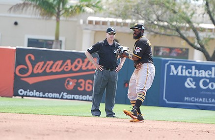 Josh Harrison on the field during a spring-training game against the Orioles - PHOTO BY CHARLIE DEITCH
