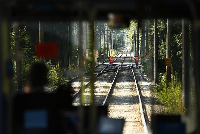 Inside a Port Authority light-rail car - CP PHOTO: JARED WICKERHAM