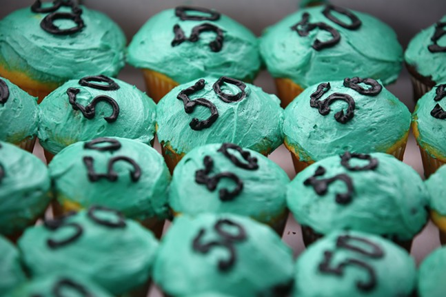 Cupcakes for Dannielle Brown's 50th birthday were passed out to those in attendance. - CP PHOTO: JARED WICKERHAM
