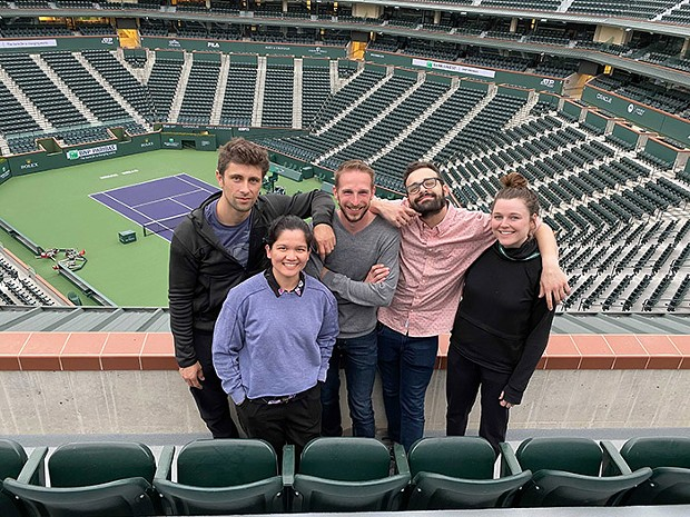 "Jared Wickerham and the ""team photo"" squad before the BNP Paribas Open was canceled."