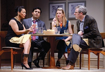 """From left: Nafeesa Monroe, Fajer Kaisi, Lisa Velten Smith and Ryan McCarthy in """"Disgraced"""" - PHOTO COURTESY OF PITTSBURGH PUBLIC THEATER"""