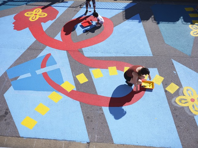Asphalt Art Initiative project in Norfolk, Va. - PHOTO: JULIA NACHEMSON/BLOOMBERG PHILANTHROPIES