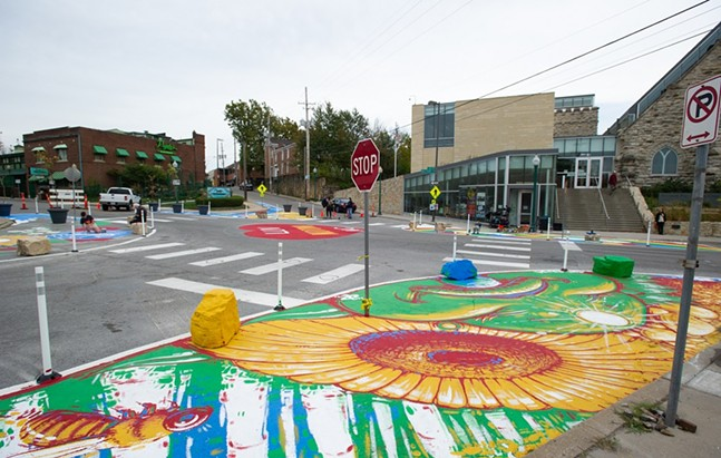 Asphalt Art Initiative project in Kansas City, Mo. - PHOTO: JULIA NACHEMSON/BLOOMBERG PHILANTHROPIES