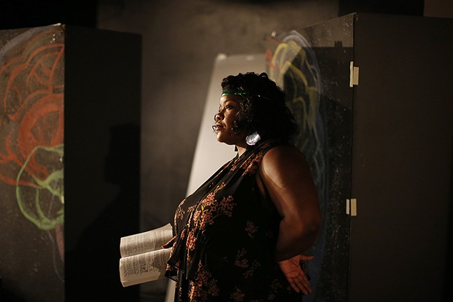 vanessa german rehearses for for a play in Downtown Pittsburgh in 2018 - CP PHOTO: JARED WICKERHAM