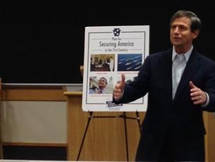 Joe Sestak talks to students at the University of Pittsburgh - PHOTO BY RYAN DETO