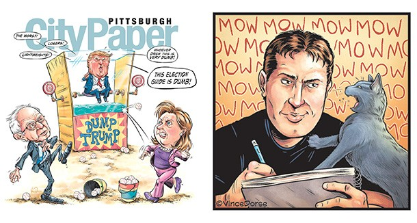 Vince Dorse's 2016 Primary Election Guide cover, and a self-portrait of the artist