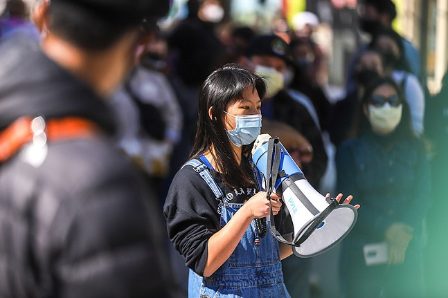 Amanda, a local high school student, addresses the crowd during an anti-Asian racism protest in Oakland on Sat., March 20. - CP PHOTO: KAYCEE ORWIG