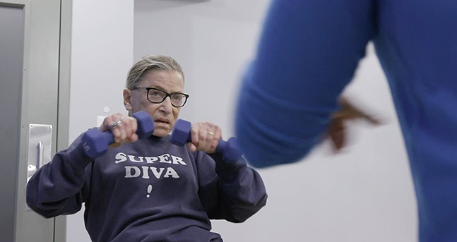 Justice Ginsburg mid workout routine in RBG - PHOTO: COURTESY OF MAGNOLIA PICTURES/CNN FILMS
