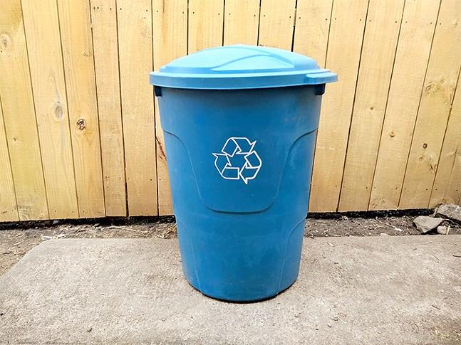 An older Pittsburgh blue recycling bin - CP PHOTO: ABBIE ADAMS