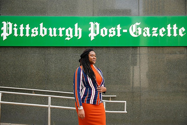 Lacretia Wimbley, Newspaper Guild of Pittsburgh President and Pittsburgh Post-Gazette breaking news reporter, poses for a portrait in Downtown Pittsburgh. - CP PHOTO: JARED WICKERHAM