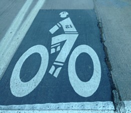 Roberto Clemente themed bike lane on the Roberto Clemente Bridge - PHOTO BY RYAN DETO
