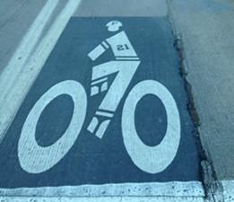 Roberto Clemente themed bike lane on the Roberto Clemente Bridge - PHOTO BY RYAN DETO