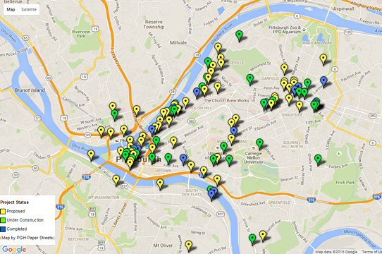Development shown in pins across Pittsburgh - IMAGE COURTESY OF PGHPAPERSTREETS.COM