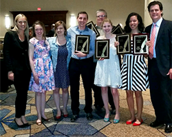 City Paper staff (from left) Deanna Konesni, marketing director; Ashley Murray, multimedia editor; Margaret Wesh, music editor; Ryan Deto, staff writer; Charlie Deitch, editor; Celine Roberts, listings editor; Rebecca Nuttall, staff writer; and Vance Smith, publisher, at Thursday's Golden Quill Awards at the Sheraton Station Square - CITY PAPER PHOTO