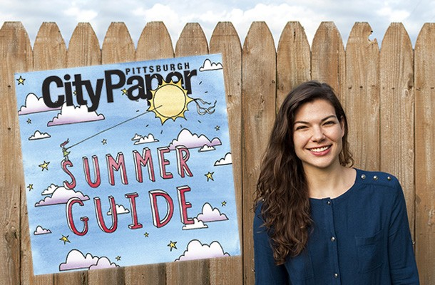 Pittsburgh artist Emily Traynor with her Summer Guide cover illustration - PHOTO COURTESY OF PETER MORSILLO