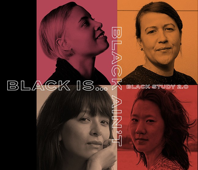 """Clockwise from top left:  Lillian-Yvonne Bertram, Natalie Diaz, moderator Diana Khoi Nguyen, and lê thị diễm thúy """"Of Sounds and Re-sounds"""" from the Center for African American Poetry & Poetics' - GRAPHIC: GRETA POLO; BOTTOM LEFT PHOTO: EDWARD JUDICE"""