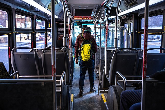 Passengers on a Port Authority of Allegheny County bus - CP PHOTO: KAYCEE ORWIG