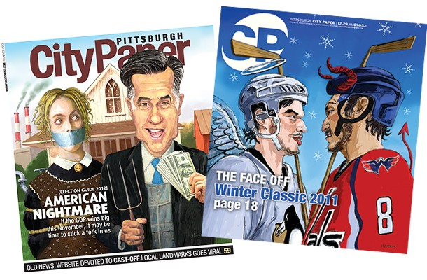 """Frank Harris' first """"American Gothic"""" parody cover illustration from 2012 and his Winter Classic cover illustration from 2010"""