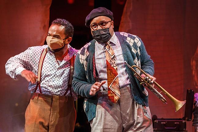 Charlie Parker (Martin Bakari) and Dizzy Gillespie (Yazid Gray) in Charlie Parker's Yardbird livestream with Pittsburgh Opera - PHOTO: DAVID BACHMAN PHOTOGRAPHY; COSTUME DESIGN: KAREN J. GILMER