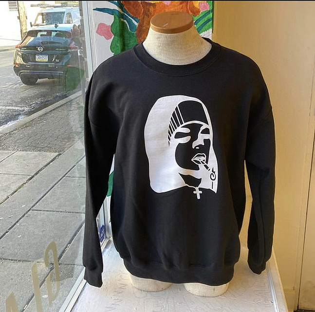 Nun sweatshirt at Curated Flame, design by Maria Coughanour - PHOTO: CURATED FLAME
