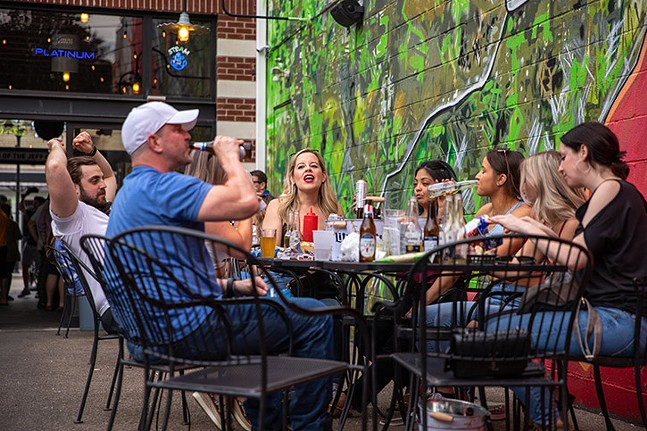 People enjoying drinks on the patio of Cupka's Cafe 2. - CP PHOTO: KAYCEE ORWIG