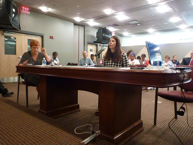 Rachel Filippini, of Group Against Smog and Pollution, speaks at Port Authority board meeting. - PHOTO BY RYAN DETO