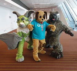 Western PA Humane Society's mascot Barkley the dog with furries at Anthrocon 2015. - PHOTO COURTESY OF AMY CRAWFORD/WESTERN PA HUMANE SOCIETY