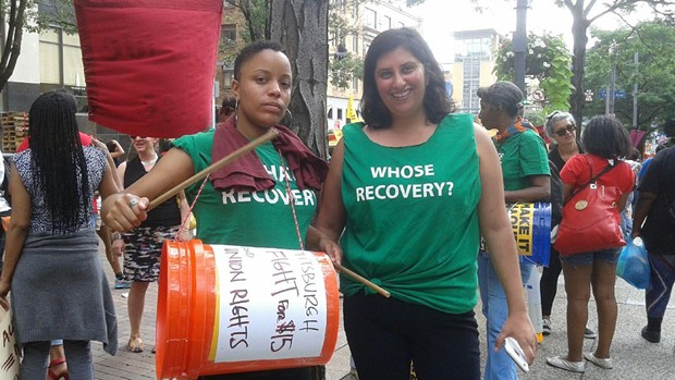 """""""This is a movement rooted in love for others."""" Tahira Pratt and Tania Syed, both from New York City, with Center for Public Democracy's Fed Up campaign, which fights for economic justice. - PHOTO BY ASHLEY MURRAY"""