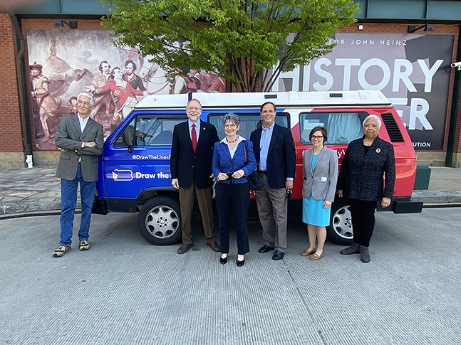 The Great Pennsylvania Voteswagon Tour of 2021 in front of the Heinz History Center - PHOTO: ANNA ADAMS-SARTHOU
