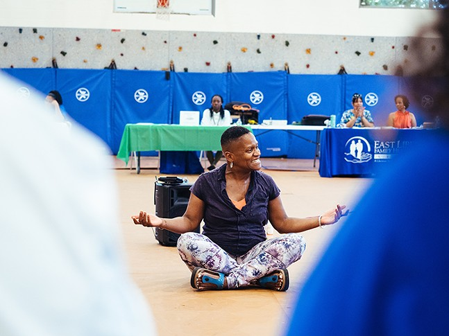 Felicia Savage Friedman teaches a chair yoga class at The Kingsley Association in July 2019. - CP PHOTO: JARED MURPHY