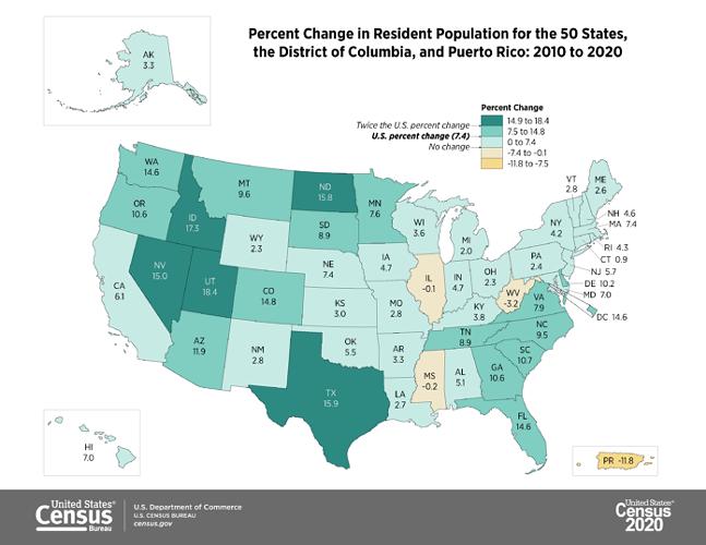 U.S. Census Bureau population map