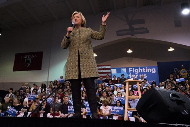 Hillary Clinton speaks at a rally in Pittsburgh earlier this year - CITY PAPER FILE PHOTO
