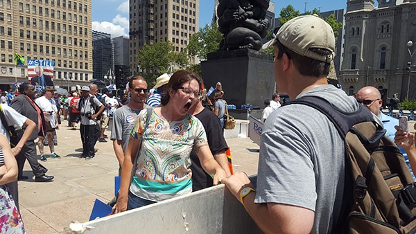 Woman screams at pro-life activist - PHOTO BY REBECCA ADDISON
