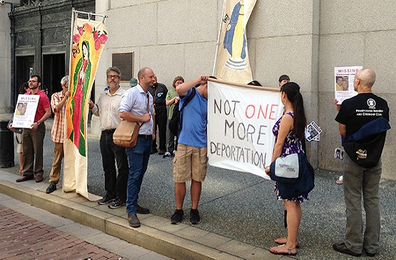 Advocates for Martin Esquivel-Hernandez outside of the federal courthouse in Downtown Pittsburgh - CP PHOTO BY RYAN DETO