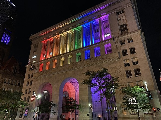 Pittsburgh City Council building lit with rainbow lights for Pride Month. - JAMES HILL
