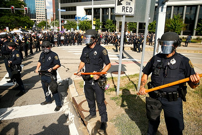Pittsburgh Police officers during a protest in Downtown Pittsburgh in July 2020 - CP PHOTO: JARED WICKERHAM