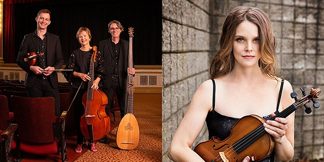 Musicians part of Chatham Baroque at Flagstaff Hill in Schenley Park - Left: Andrew Fouts (violin), Patricia Halverson (viola da gamba), and Scott Pauley (theorbo); Right: Dawn Posey (violin) - PHOTOS: R. ALAN ADAMS (LEFT), LISA-MARIE MAZZUCCO (RIGHT)