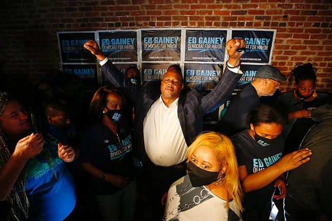 Ed Gainey celebrates his win during his Election Night watch party on Pittsburgh's North Side on Tue., May 18, 2021. - CP PHOTO: JARED WICKERHAM