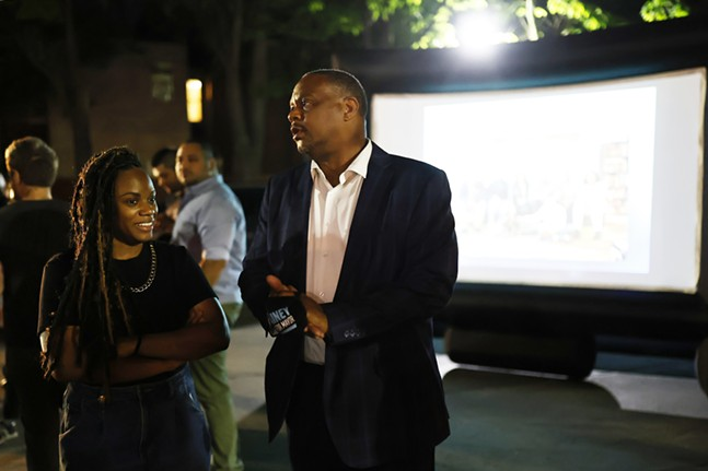 Mayoral candidate Ed Gainey speaks with Rep. Summer Lee during his watch party at the OnePA offices. - CP PHOTO: JARED WICKERHAM