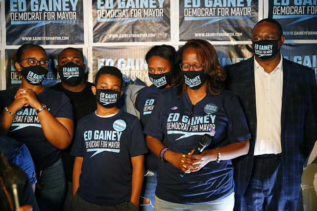 Mayoral candidate Ed Gainey and his family stand on stage before his acceptance speech. - CP PHOTO: JARED WICKERHAM