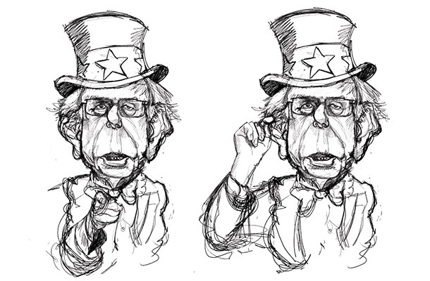 One with Bernie Sanders doing the classic Uncle Sam point, and a second option, giving Sanders the point he often uses in his speeches. We thought the Bernie Sanders' point was a perfect fit for this week's story.